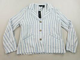 new JONES new YORK JNY women jacket linen buttons blue white stripe sz M - $26.19