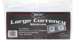 Currency Sleeves - Large Bill, 100 pack image 1