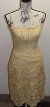Betsey Johnson Women Lace Dress Boho Mustard 6 Spaghetti Strap Cotton USA - $1.031,88 MXN