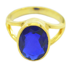 gorgeous Blue shappire CZ Gold Plated Blue Ring gemstone US 6,7,8,9 - $9.99