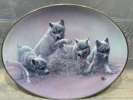 SPLASH DANCE The Wild Bunch 1997 #4139A Bradford Exchange Plate Wolf Wolves - $19.79