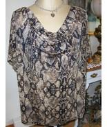 Jaclyn Smith Animal Print Top Cowl Neck Draped Short Sleeve Blouse 3X Pl... - $24.00