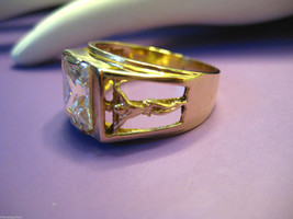 Mens 14k Yellow Gold Ring Jesus Cross Crucifix Crystal 7.5mm Band S 10 7... - €399,13 EUR