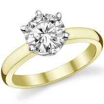 2.00CT Forever One Moissanite 6 Prong Solitaire Wedding Ring 14K Two Tone Gold - $1,153.35