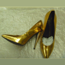 PU Leather Metallic Gold Mirror Pointed Toe High Heel Stiletto Classic Pumps   image 4