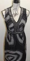 Spense Women Dress Black Beaded Wood 4 Linen Cotton Sleeveless White Geo... - $38.44