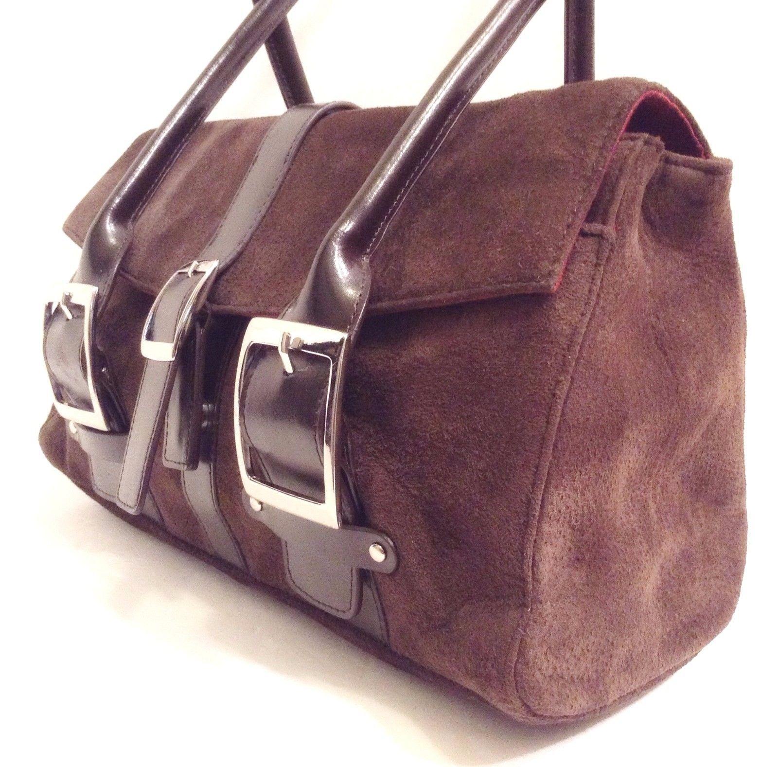 Wilsons Leather Pelle Studio Brown Suede Handbag Shoulder Bag