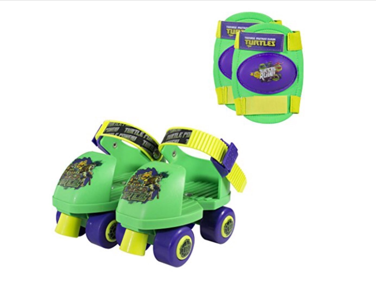 Teenage Mutant Ninja Turtles Kids Roller Skates Knee Pads Adjustable Size 6-12