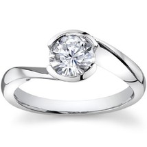 0.75CT Round Half Bezel Forever One Solitaire Ring 14K White Gold - $628.65