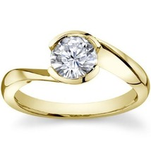 1.25CT Round Half Bezel Forever One Solitaire Ring 14K Yellow Gold - $856.35