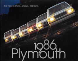 1986 PLYMOUTH full line dlx brochure catalog US 86 Gran Fury Turismo Hor... - $8.00