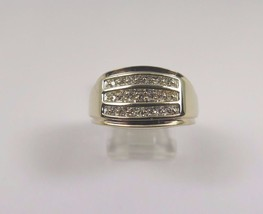 10k Yellow Gold Men's Diamond Ring In A Chanel Setting - $327.25