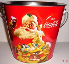 Coca Cola ~ Christmas Tin Pail w/ Handle - $10.00