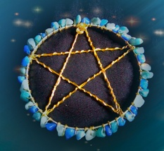 Aquamarine Pentagram Candle Base, Alter Pentagram - $20.00