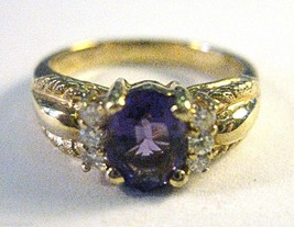 Vintage 14K Yellow Gold w/ Amethyst & 10 Point Full Cut Diamond Ring, Si... - $280.49