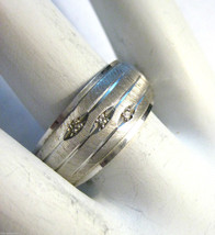 Mens Vintage Retro 14k White Gold Wide Band Ring 10mm Band Diamonds Size... - €362,60 EUR