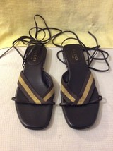 VINTAGE GUCCI LEATHER GLADIATOR BROWN/ BEIGE Sandal Flat SZ. 36-C Eu. 6 US - $111.15