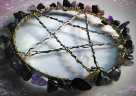 Amethyst And Black Jasper Pentagram Candle Base, Alter Pentagram - $20.00