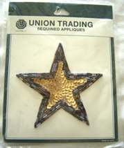 Vintage Gold and Blue Star Sequin Applique Sew-On Sequined Patch  NIP  - $8.99