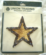 Vintage Gold and Blue Star Sequin Applique Sew-... - $5.99