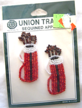 Vintage Red Golf Club Bag Sequin Applique Sew-On Sequined Patch Set  NIP  - $8.99
