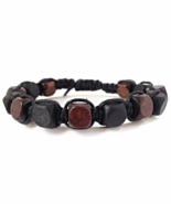 Black and Brown Braided Wooden Unisex or Men's Bracelet - $27.90
