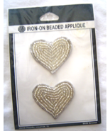 Vintage Silver Heart Sequin Applique Iron-On Se... - $5.99