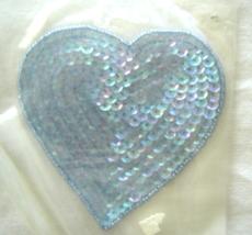 Vintage  Light Blue Large Heart Sequin Applique Sew-On Sequined Patch  NIP  - $8.99