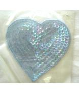Vintage  Light Blue Large Heart Sequin Applique... - $5.99