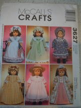 """McCall's  18"""" Doll Clothes American Girl Style Pattern # 3627 Uncut - $4.99"""