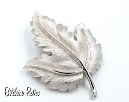 Crown Trifari Vintage Brooch with Brushed Silver Tone Dimensional Leaf - $19.00