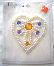 Vintage White Embelished Heart Sequin Applique Sew-On Sequined Patch  NIP  - $8.99
