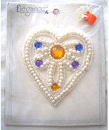 Vintage White Embelished Heart Sequin Applique ... - $5.99