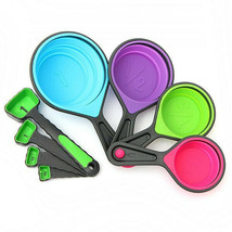 8pcs Silicone Colorful Collapsible Measuring Cups Spoons Kitchen Tool Cream - $24.99