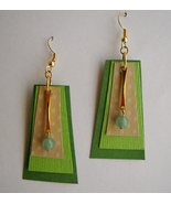 Green Tan Layered Paper Earrings Unique Handcra... - $45.00