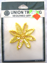 Vintage  Yellow Daisy Sequin Applique Sew-On Sequined Patch  NIP  - $8.99