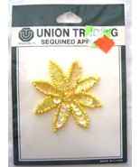 Vintage  Yellow Daisy Sequin Applique Sew-On Se... - $5.99