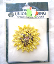 Vintage Yellow Sunflower Sequin Applique Sew-On Sequined Patch  NIP  - $8.99