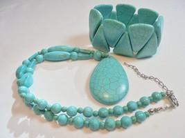 Vintage Faux Turquoise Pendant Necklace/Bracelet Set/Lot Chunky Retro 19... - $13.81