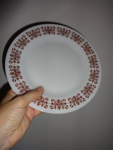 Anchor Hocking FIRE KING china dinner plate COPPER FILIGREE restaurant ware - $8.00