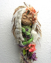Ostara, Moon Goddess, Spring Solstice, Green Witch on whisk, Assenblage ... - $85.00