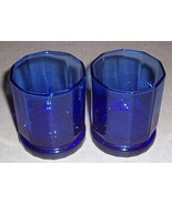 Vintage (2) Cobalt Blue Anchor Hocking Solid Tall Glass Tumblers - $35.00