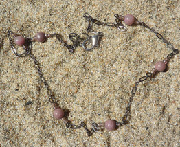 Delicate Pink Rhodite Stone Necklace - $8.00