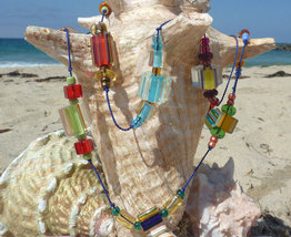 Colorful Cane Glass Necklace  - $10.00