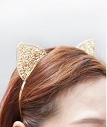 Crystal Cat Ears, Cat Ears Headband, Gold Cat Ears Headband, Gold Crysta... - $28.12