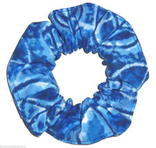 Blue Tie Dye Peace Sign Hair Scrunchie Scrunchies by Sherry Ponytail Holder - $6.99