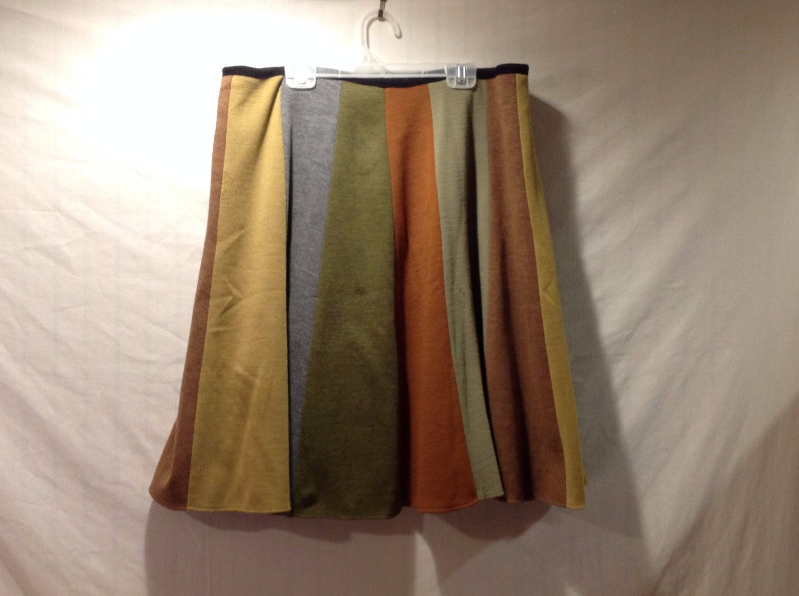 Homemade Short Skirt Gray Mustard Yellow Sage Green Orange Brown Stripes Soft