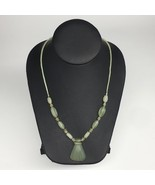 "1pc,2mm-42mm, Green Nephrite Jade Flower Carved Beaded Necklace,16""-18"",... - $6.34"