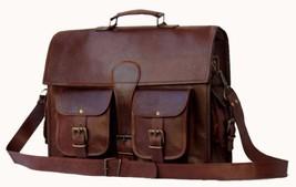 """15""""vintage leather messenger brown real laptop satchel bag genuine briefcase - $94.05"""