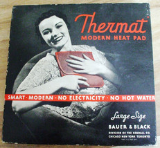 1940s Vintage Bauer & Black Thermat Modern Heating Pad w/Box Case & Inst... - $14.25